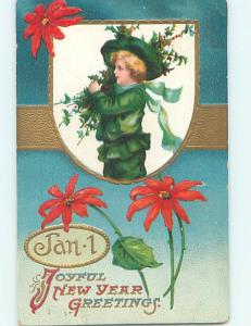 Pre-Linen new year GIRL ALL DRESSED IN GREEN CARRIES HOLLY BRANCHES HQ8187