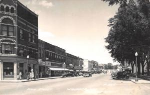 Waupaca Wisconsin~Main Street~Schultz Bros~Billiards~Dr Clinic~1940s Cars~RPPC