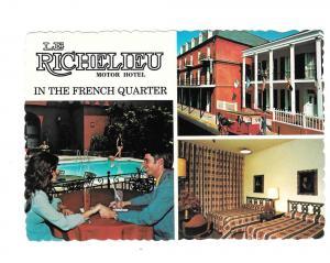 LA New Orleans Le Richelieu Motor Hotel Motel Postcard 4X6