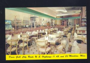 MERIDIAN MISSISSIPPI DAVIS GRILL RESTAURANT JUKEBOX ADVERTISING POSTCARD MISS.