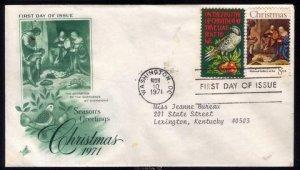 1971 US Sc #1444-1445 FDC Christmas (Religios & Secular)Great Con...