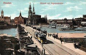 Dresden Altstadt mit Augustusbrucke Bridge Tram Boats Panorama Postcard