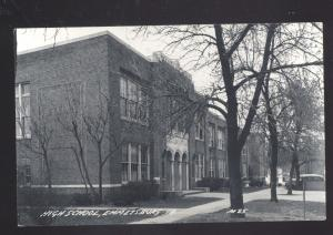 RPPC EMMETSBURG IOWA HIGH SCHOOL BUILDING VINTAGE REAL PHOTO POSTCARD