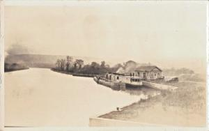 ARTHUR W SHERMAN BARGES-HOUSE BOAT-OLD CAR~REAL PHOTO POSTCARD~??WEST VA RIVER??