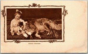 Vintage 1910s Greetings Postcard GOOD FRIENDS Little Girl Big Dog TEDDY BEAR