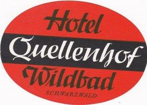 Germany Wildbad im Schwarzwald Hotel Quellenhof Vintage Luggage Label sk3148