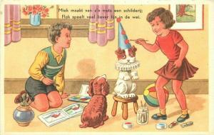 Artist impression 1950s Children's Toys Comic Humor dressed Boys Postcard 1956