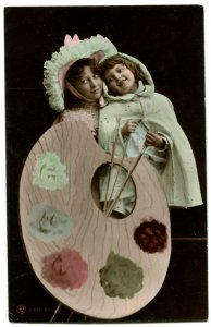 Vintage French RPPC. Hand tinted. Two children with large painter's palette