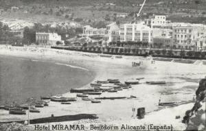 spain, BENIDORM ALICANTE, Beach Scene, Hotel Miramar (1950s)