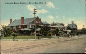 San Diego CA Residence Street c1910 Postcard