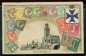 Stamp Postcard Warwick Queensland posted street view scene