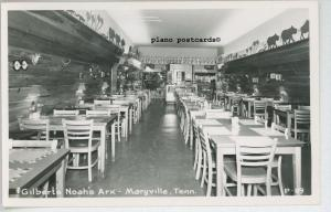 MARYVILLE, TENNESSEE INTERIOR-GILBERT'S NOAH'S ARK CAFE REAL PHOTO POSTCARD