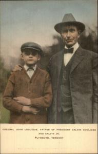 Colonel John Coolidge & President Calvin Coolidge as Boy c1920s Postcard