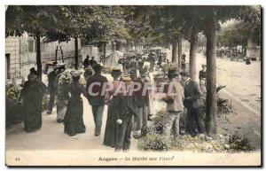 Old Postcard Angers The flower market TOP