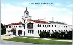 1940s EL JEBEL MOSQUE Postcard Denver, Colorado Shriners Masonic Kropp Linen