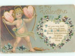 Pre-Linen Valentine CUPID CARRYING HEARTS AB2781