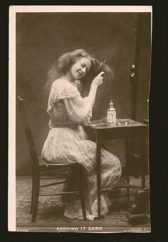 Copyrit 1907 The Rotograph Lady Dying Hair Real Photo Postcard Unposted see note