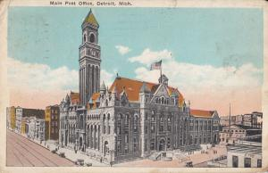 Main Post Office Detroit Michigan United States 1929 postcard
