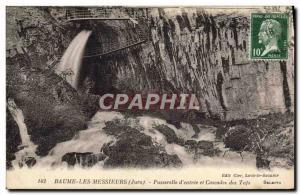Old Postcard Baume Les Messieurs Footbridge & # 39entree and Cascades Tuffs