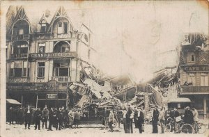 France Dunkerque bomb damage WWI .Grand Hotel Pyl and Cafe Victor Postcard