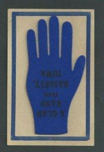 Ca 1905 Post Card A Glad Felt  Hand From Bassett Ohio