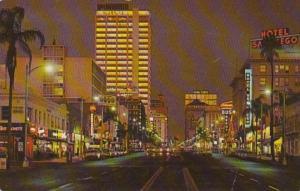California San Diego Broadway At Night