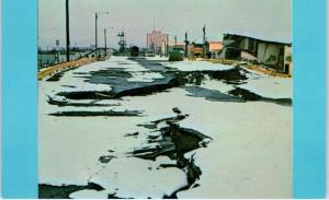 ANCHORAGE, Alaska     PARKING LOT after GREAT EARTHQUAKE    1964    Postcard