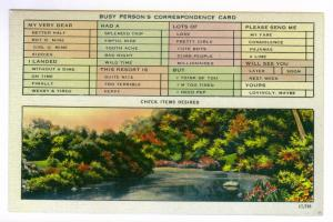 Busy Person's Correspondence Card, unused linen Colourpicture Postcard