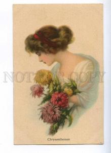 189654 BELLE Woman w/ CHRYSANTHEMEN Chrysanthemum Vintage PC