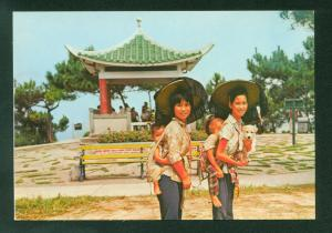 Women Children and Puppy Dog in Lama Chow N. T. Hong Kong China Vintage Postcard