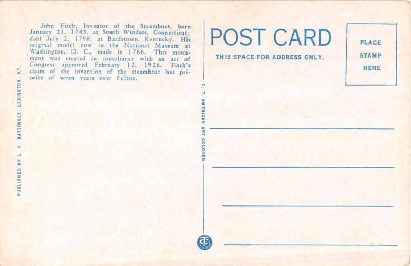 BARDSTOWN KENTUCKY JOHN FITCH~INVENTOR OF THE STEAMBOAT~MEMORIAL POSTCARD 1920s