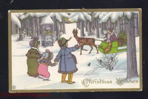 ANTIQUE VINTAGE CHRISTMAS POSTCARD SANTA CLAUS BROWN ROBE SLEIGH WINTER