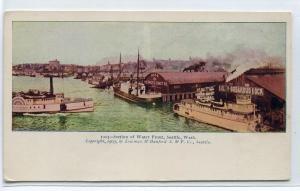 Waterfront Steamers Seattle Washington 1907c postcard