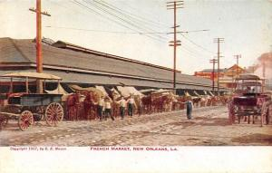 La. New Orleans, French Market, Commerce, Horses, Carriages