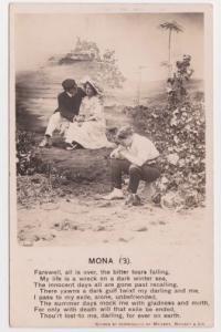 RPPC Romantic Bamforth Mona (3) Boosey Song Love Lost Vintage Postcard A33