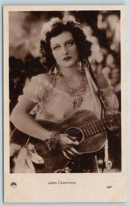 Postcard Joan Crawford With Guitar Goldwyn Mayer RPPC Real Photo c1940s T7