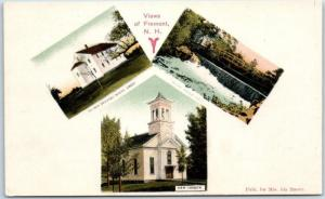 Fremont, New Hampshire Postcard Multi-View Church Meeting House Bridge c1910s
