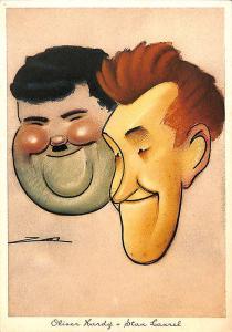Oliver Hardy Stan Laurel Movie Actors Nino Za Artist Italian Postcard