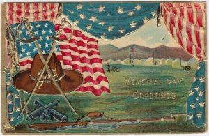 MEMORIAL DAY; Greetings, GAR, Swords, U. S. Flag, Barracks, PU-1911