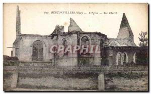 Old Postcard Bertonvillers (Oise) The Church The Church Army
