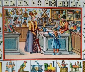 Vintage Victorian Print Original Game Board Artwork France Toy Shop 1890 Litho