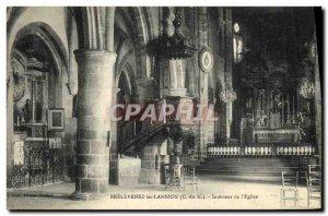 Old Postcard Brelevenez Lannion Interior of the Church