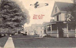 Milan Michigan Main Street Airplane over Residences Vintage Postcard JI657363