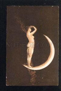 043255 NUDE WITCH dancing on MOON vintage PC