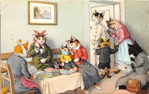 F60/ Alfred Mainzer Dressed Cats Postcard c1940s Sick Doctors Office 15