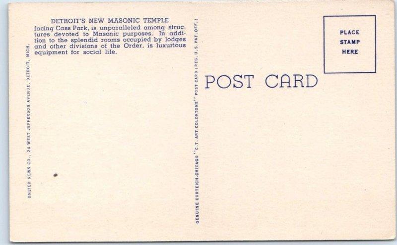 Detroit, Michigan Postcard MASONIC TEMPLE Building View