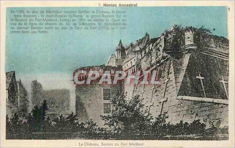 Postcard Old Nantes Ancestral Bastion Chateau du Port Maillard