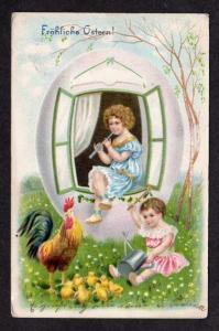 fröhliche ostern Easter Postcard Window Girl  Egg House Flute Postkarte Pot