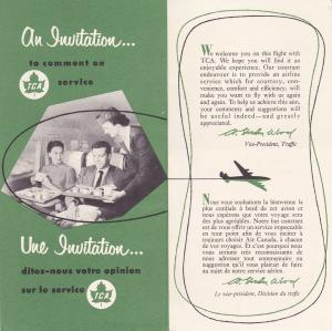 TCA / Trans Canada Air Lines , Invitation to comment on Service , 1954