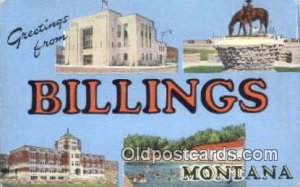 Billings, Montana USA Large Letter Town Vintage Postcard Old Post Card Antiqu...